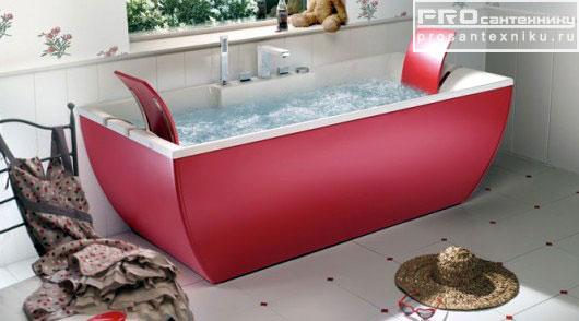 Красная ванна с подголовниками