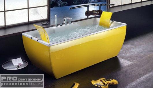 Желтая ванна с подголовниками