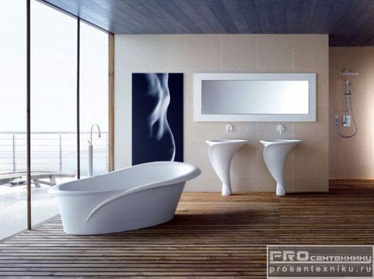 Необычный легкий дизайн ванной