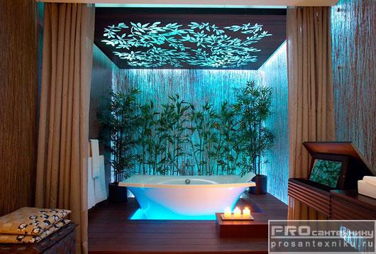 Необычная ванна с подсветкой в интерьере